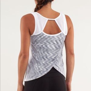 Lululemon Run Speed Squat Tank Blazer Fossil/White